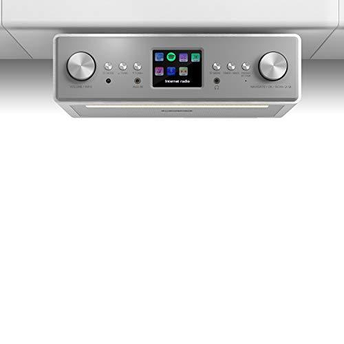 AUNA Connect Soundchef - Radio con Internet, Radio de Cocina, Radio con wi-fi, Dab/Dab+ / FM, RDS, Bluetooth, Spotify, AUX, UPnP y DNLA, Mando a Distancia, Pantalla en Color TFT, Blanco