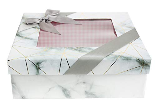 Emartbuy Caja de Regalo de Presentación Rígida Cuadrada, 23.5 cm x 23.5 cm x 9 cm, Efecto de Mármol Blanco Con Líneas Doradas de Origami, Interior a Cuadros Rosa, Tapa Transparente y Cinta de Satén