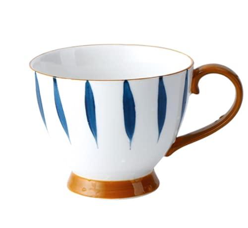 Tasse Kaffee Porzellan Kaffeetasse mit Henkel Teetasse 450ML Teebecher Hitzebeständig Kaffeebecher Japanisch Handgemalt Mokkatasse Spülmaschinenfest Macchiatotasse Büro Home Trinkbecher Latte Tee