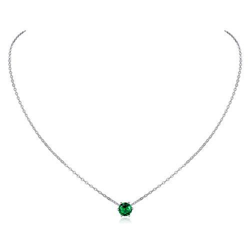 Mayo Collar Cristales de Nacimiento Cadena Hipoalergénica para Muchachas Mujeres Plata de Ley 925 Joyería Fina para Cuello Esmeralda Verde Oscuro