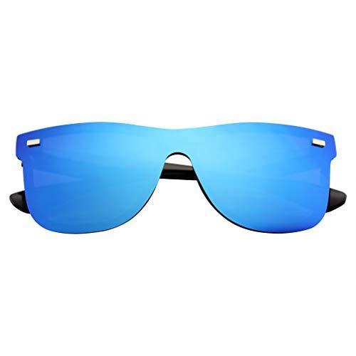 Emblem Eyewear - Gafas De Sol Retro Feflexivas De La Vendimia De La Lente Sin Color Del Espejo De Las Mujeres Para Hombre (Azul)