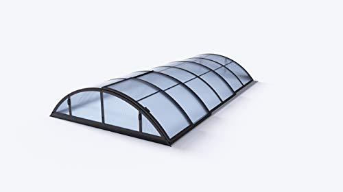 POOL EXKLUSIV Schwimmbadüberdachung/Pool-Überdachung/Poolabdeckung Basic, anthrazit, Hohlkammerprofil 8 mm, überdachbare Fläche 319 x 635 cm, Außenhöhe 100 cm