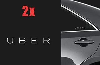 Two 5 UBER Logo Vinyl Decal Window Door car Sticker rideshare Sign lyft Sides