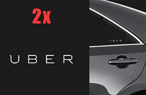 Two 5 UBER Logo Vinyl Decal Window Door Car Sticker Rideshare Sign Lyft Sides