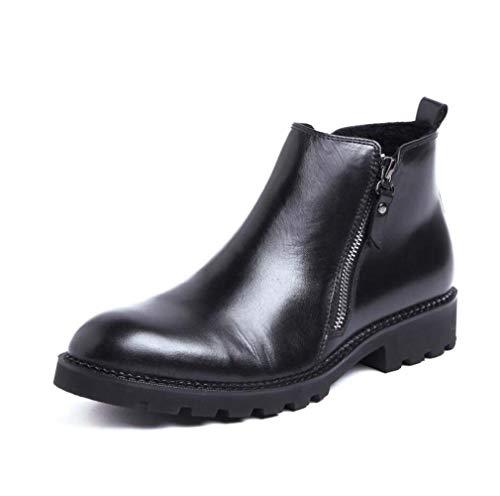 Mannen leer Chelsea Boots, Winter Warm gesp enkellaarsjes Brock cowboylaarzen bedrijf high-top schoenen