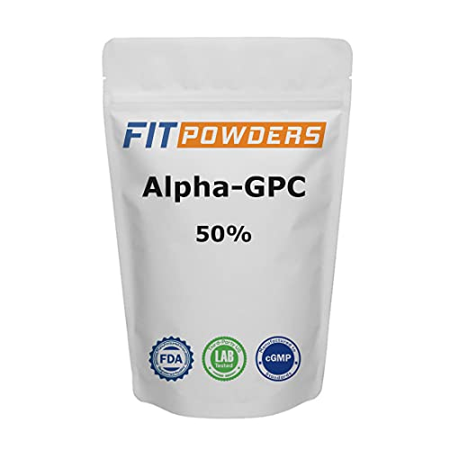 Alpha-GPC Powder 50% Non-Clumping Choline by FitPowders, Non-GMO, Vegan, Support Memory and Focus, with Scoop (125 Grams)