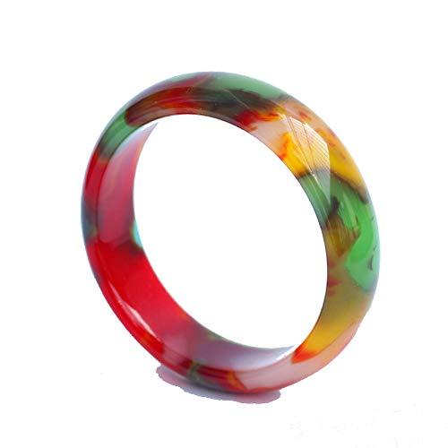 Olydmsky Jade-Armreif, Buntes Chalcedon Achat Jade ethnischen Stil farbige Jade Jade Armband mit Geschenkbox Verpackung Damen (56-66mm)