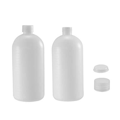 Sourcing Map Kunststoffflasche für Labor, Chemikalien, Reagenzmittel, 1000 ml, kleine Mündprobe, Abdichtung, Flüssigkeitsbehälter, 2 Stück