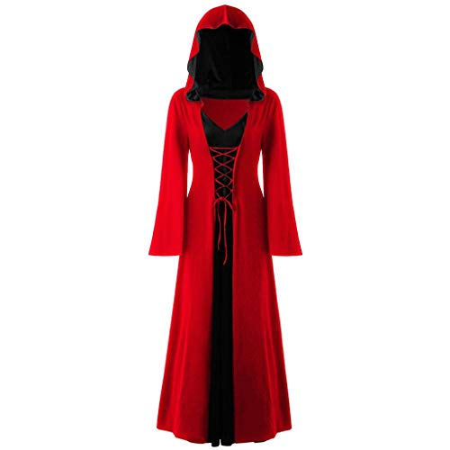 Mittelalter Kostüm Damen Langarm Kleid mit Kapuze Renaissance Cosplay Dress Piebo Lang Umhang Lace Up Gothic Kleider Halloween Weihnachten Karneval Fasching Viktorianischen Königin Vampir Hexenkostüm
