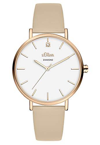 s.Oliver Damen Analog Quarz Uhr mit Kunstleder Armband SO-3959-LQ