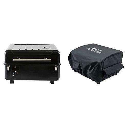 Traeger Grills Ranger Grill TBT18KLD Wood Pellet Grill and Smoker Black & Grills BAC475 Scout and Ranger Grill Cover, Black