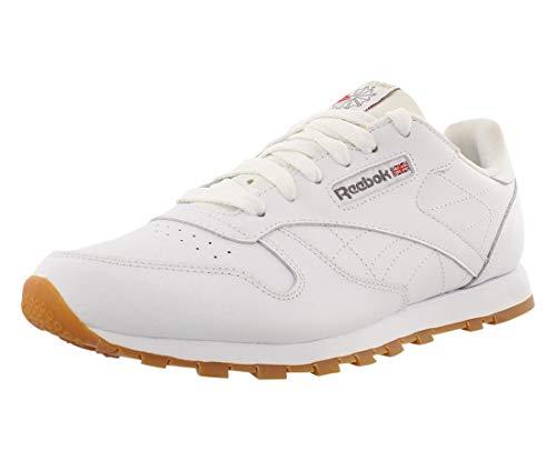 Reebok Boy's Classic Leather Shoes Sneaker, WHITE/GUM, 4 Big Kid