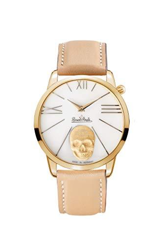 Rosenthal - Reloj de porcelana con calavera Rock'n para mujer, correa de piel marrón