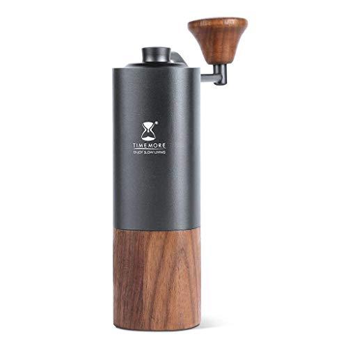 Timemore G1 Plus NEU   Titan Premium Hand Kaffeemühle Espressomühle   Schwarz   Auffangbehälter aus Walnussholz   neues Edelstahl-Kegelmahlwerk