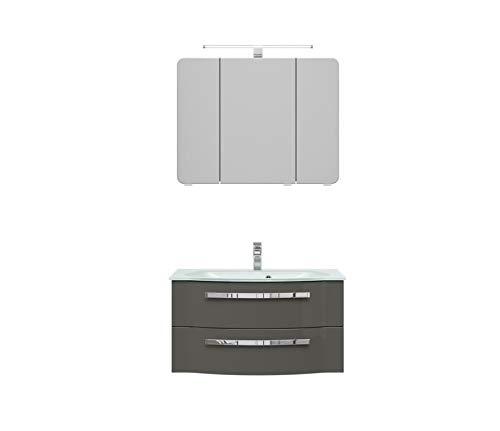 PELIPAL FOKUS 4005 Bad Möbel Set (3 teilig) / steingrau Hochglanz, Spiegelschrank, Glaswaschtisch, Unterschrank, LED Beleuchtung