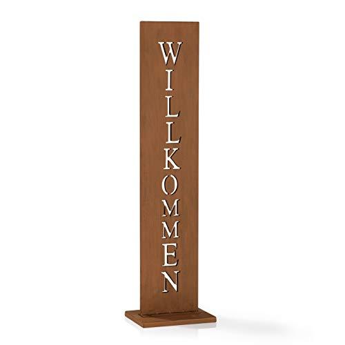 EASYmaxx Garten Deko Standschild - Willkommen | Gartensäule mit Spruch, Spruchschild aus Metall in Rostoptik | Wetterfestes Willkommen Schild für drinnen und draußen [77 cm Höhe]