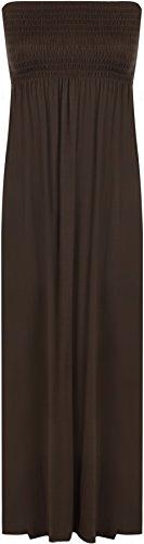 WearAll - Damen einfachen Shirred Bandeau trägerloses mit rüschen besetztes langes Maxi Kleid - Dunkelbraun - 36-38