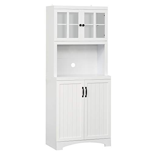 HOMCOM Accent Kitchen Buffet and Hutch Wooden Storage Cupboard with Glass Framed Door, and Microwave Space, White