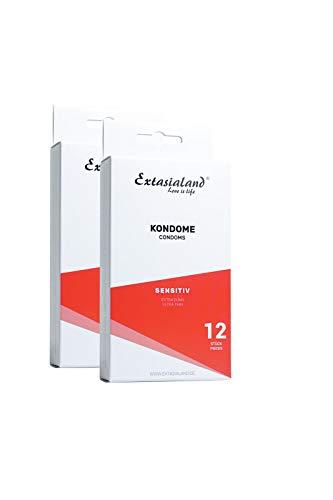 Extasialand 2x 12er Sensitiv Marken-Kondome extra dünn im Doppelpack – günstige Sex Markenprodukte im Spar Abo