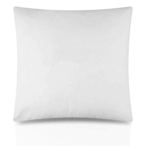 4 Pack Filled Cushions 17' x 17' Inches Poly Cotton Cushion Pad Inner for Indoor Outdoor Seat Inserts (43 cm x 43 cm) Plain White, Pack of 4