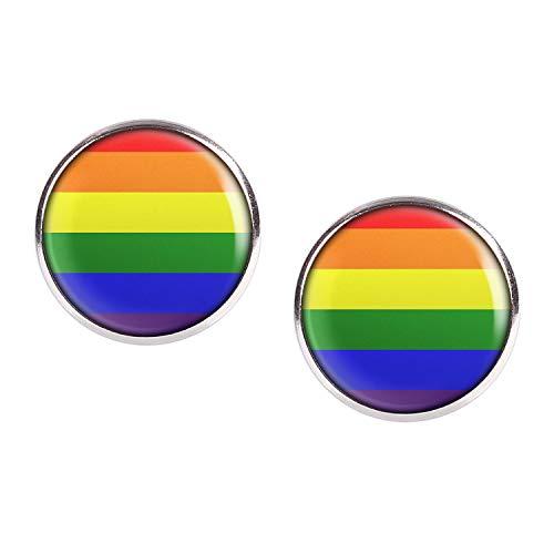 Mylery Ohrstecker Paar mit Motiv Regenbogen-Fahne Rainbow-Flag LGBT silber 16mm
