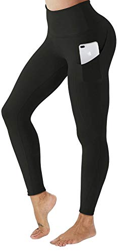 AIMILIA High Waisted Yoga Pants with Pockets Workout Tummy Control Leggings Sport Tights for Women (X-Large, Black)