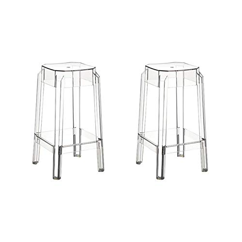 resol set de 2 taburetes de diseño Darren para interior, exterior, jardín - color transparente