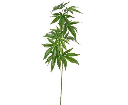 Hanf Kunstpflanze 95cm mit Cannabis Blättern aus Textilfaser Material - großes Kunstblumen Sortiment