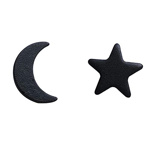 TIANYOU Metal Geométrico Negro Stars Moon Mini Stud Pendiente Femenino Pendientes Hecho a Mano J