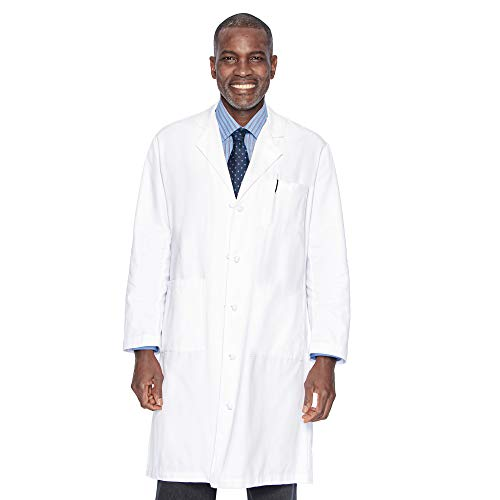 Landau Men's Professional Full Length 3 Pocket Medical Workwear Lab Coat, White, 40