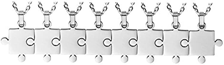8 Piece Puzzle Necklace Friendship - Women Men Stainless Steel Pendant Silver Tone Jewelry