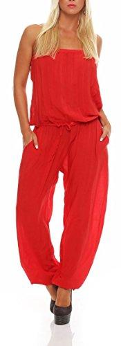 Malito Damen Einteiler in Uni Farben | Overall mit Stoffgürtel | Jumpsuit - Hosenanzug - Romper 4538 (rot)