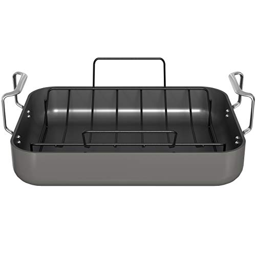 t fal roasting pans Roasting Pan, By Kook, Hard Anodized Roaster, Non stick, with Metal Rack and Stainless Steel Handles, 17 Inches from Handle to Handle