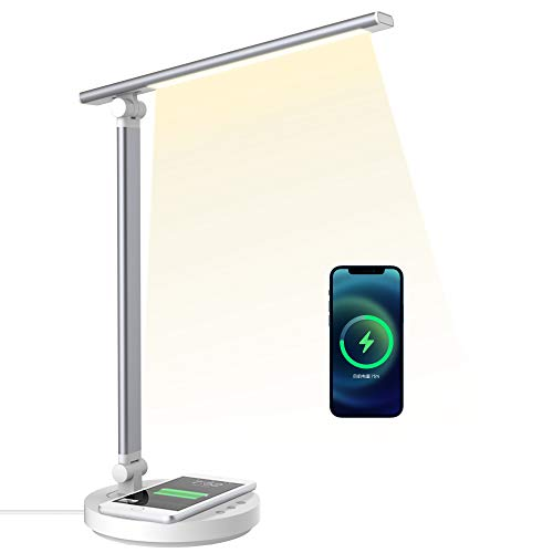 Lámpara Escritorio LED con Carga inalámbrica, Lámpara de Lectura con Conexión de Carga USB para Cargar el Teléfono Inteligente. Lámpara de Cabecera Cuidado de ojos de para ojos para Dormitorios