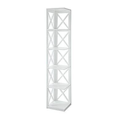 Convenience Concepts Oxford 5-Tier Corner Bookcase, White