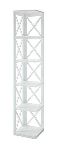 Convenience Concepts Oxford 5 Tier Corner Bookcase, White
