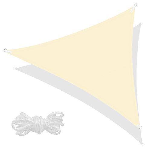 SPRINGOS Sonnensegel inkl. Abspannleine wasserabweisend Sonnenschutz Schattensegel Segeltuch für Garten Terrasse Balkon Patio Wetterschutz Windschutz Beschattung Schattenspender (Ecru Dreieck 3x3x3 m)