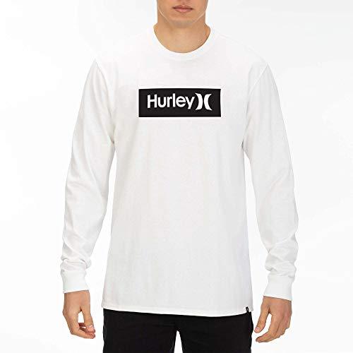 Hurley Herren M Core O&O Boxed L/S Tee T-Shirt, White/(Wolf Grey), M