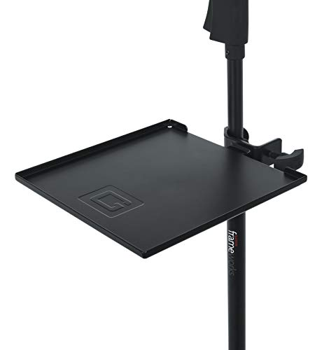 """Gator Frameworks Microphone Stand Clamp-On Utility Shelf; 9"""" x 9"""" Surface Area with 10 pound Weight Capacity (GFW-SHELF0909)"""