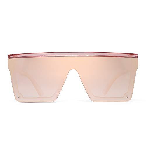 JIM HALO Gafas de Sol con Protección Superior Plana Gafas Cuadradas sin Montura con Espejo Para Mujeres y Hombres (Montura Rosa/Lente Rosa Espejada)