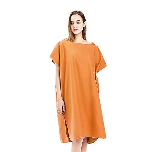 Poncho de toalla para cambiar la playa, con capucha para practicar surf, natación, traje de neopreno para mujeres y hombres (naranja)