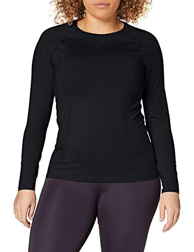Amazon Brand - AURIQUE Top deportivo de running para mujer, Negro (Black), 42, Label:L