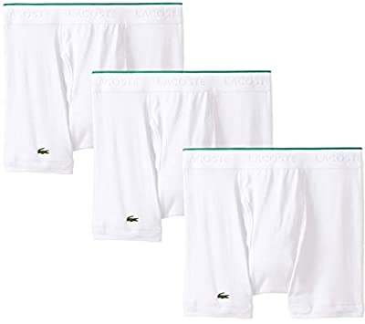 Lacoste Men's 100% Cotton Boxer Brief Underwear, Multipack, New White - 3 Pack, Large by Lacoste