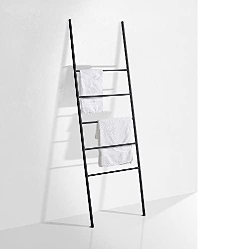 Kasahome Scaletta Scala Porta Asciugamani Arredo Bagno Moderna in Metallo Casa 27x100 cm con 3 ripiani Bianco o Nero (Nero)
