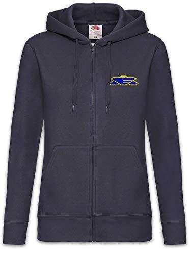 Urban Backwoods Earth Alliance-logo dam zipper huvtröja tröja blå storlek XL