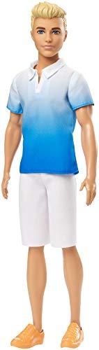 Barbie GDV12 - Ken Fashionistas Puppe im weiß-blauen Poloshirt, Puppen Spielzeug ab 3 Jahren