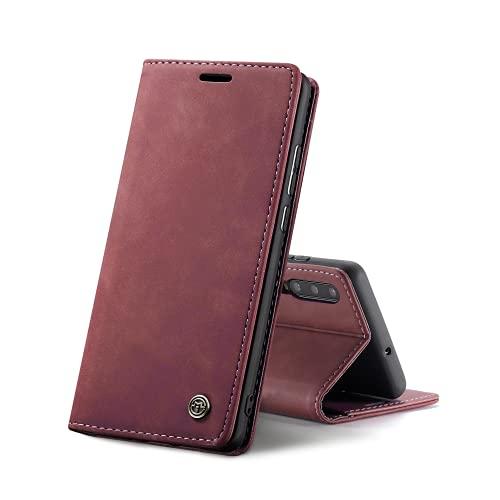 Chocoyi Custodia per Samsung Galaxy A70 Flip Caso in PU Pelle Premium Portafoglio Custodia,Supporto Stand,Chiusura Magnetica-Rosso