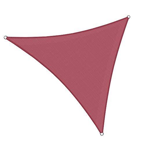 Gexmile Toldo Vela de Sombra Triángulo Toldo de Vela Solar Impermeable Protección Cubierta de Toldo Solar para Jardín Patio 3x3x3m Rojo