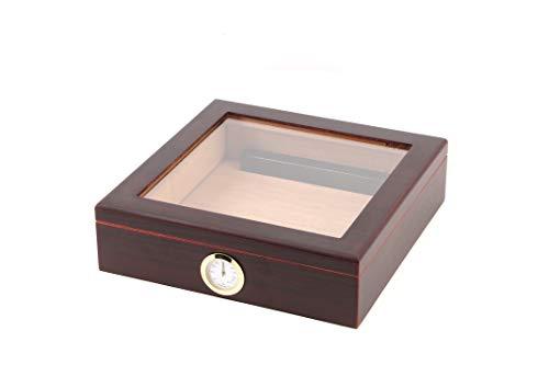 BigSmoke Zigarren Humidor mit Glasdeckel und Zedernholz Furnier, Befeuchter, Hygrometer und Trennwand - Schöne Zigarrenkiste für Einsteiger und Zigarrenliebhaber - Für 30 Zigarren - Braun