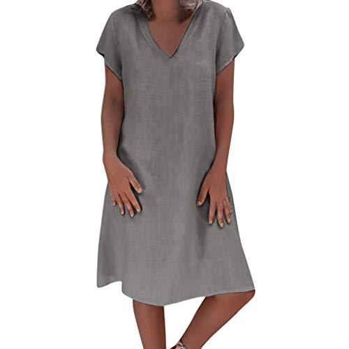 AIni Mujer Verano De Playa Vestido De Lino De Verano Vestido Mujer Mujer Camiseta AlgodóN Casual Tallas Grandes Vestido De SeñOras Tallas Grandes Vestidos De Playa …